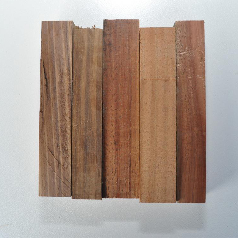 Blackwood samples showing the range of colours.