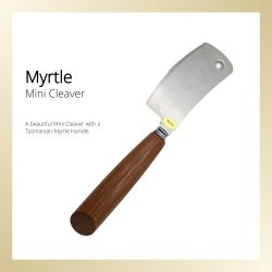 Mini cleaver style cheese knife with a Myrtle handle.