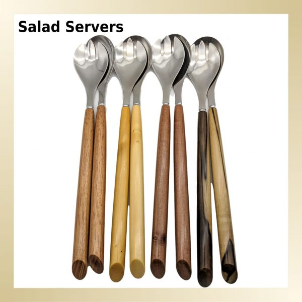 A beautiful selection of Salad Servers with timber handles